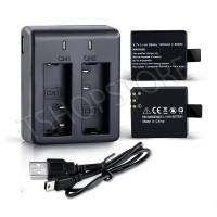 Charger + 2 Baterai Action Cam (SjCam / Bpro 5AE / Kogan / Dll )