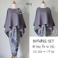 Batik Indonesia !! Setelan Kebaya Batwing Grey