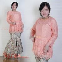 Batik Indonesia !! Setelan Kebaya Brukat Full Puring Peach ada Pilihan