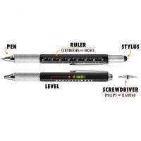 Pena Multifungsi Metal Stylus + Penggaris + Level + Obeng