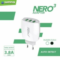 Kepala Fast Charger Hippo Nero3 USB port 3 slot 3.8A