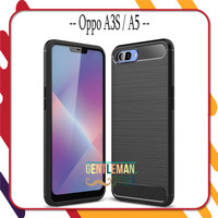 Case Oppo A3S / A5 Softcase Carbon Fiber Premium Shockproof - Hitam