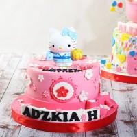9e1d76f5d Kue Ulang Tahun model Hello Kitty / Diameter 16 cm / Kue Coklat