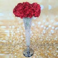 Vas Bunga Silver Waterford Crystal Vase Centerpiece - Height 76cm