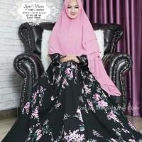 Viona syari gamis wolfis premium navy hitam motif rose khimar ceruti 2