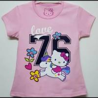 Baju kaos karakter anak perempuan hello kitty baby pink 7-10