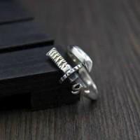 Cincin Perak Asli S925 Cincin Pria Cowok Sword Silver Ring Free Size