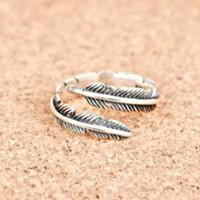 Cincin Perak Asli S925 Pria Wanita Feather Silver Ring Free Size