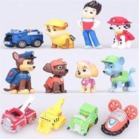 12Pcs/Set Mainan Mini Model Film Paw Patrol,Ryder 6 Anjing 5 Kendaraan