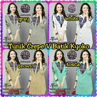 FashionOS - Tunik Crepe V Batik Songket Motif 18139 Baju Kyoko Size XL