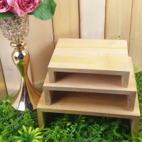 Cake Stand Tempat Sajian Tempat Saji Kue 3 in 1 Mahony Wooden Shelf