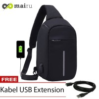 Mairu Tas Selempang Pria USB Anti Maling Original Similar Mark Ryden - 732