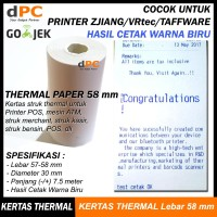 Thermal Paper Hasil Cetak Biru 58X30 mm Kertas Printer Kasir Zjiang