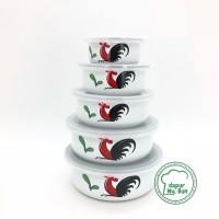 Mixing Bowl Set 5 Pcs Ayam Jago Seri 2 / Mangkok Enamel