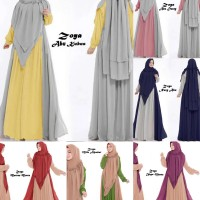 Zoya Syari Gamis Maxi dress polos Jumbo Fit M-XXL + Khimar pad antem