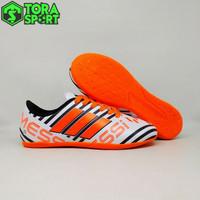 Sepatu Futsal Anak Adidas Messi Putih Strip Hitam Orange Terbaru 2018