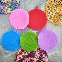 [Round] Tapas Spons Cuci Piring Silikon Silicone Dish Sponge Scrubber