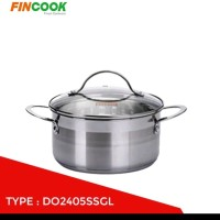 FINCOOK Panci Dutch Oven Stainless 24 cm Tutup Kaca DO2405SSGL