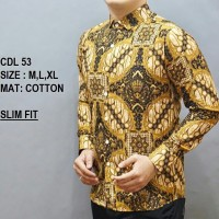 Harga baju pria kemeja batik slimfit lengan panjang casual formal odl | Pembandingharga.com
