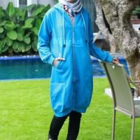 Harga size xl jaket hoodie premium hijabers blue grey hijacket | Pembandingharga.com
