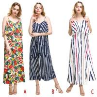 Summer Women Comfy Chiffon Floral Print V Neck Beach Boho Maxi Dress