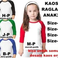 Terlaris Kaos Raglan Anak Lengan3/4 Untuk Semua Desain Gambar Kaosery