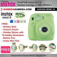 FUJIFILM Instax Mini 9 Holiday Package LIME GREEN Garansi Resmi 1th