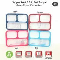 LUNCH BOX GRID ANTI TUMPAH / SEKAT 3 / TEMPAT MAKAN / KOTAK BEKAL