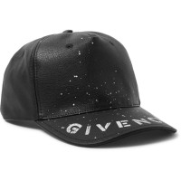 GIVENCHY SPRAY PAINTED BLACK LEATHER BASEBALL CAP ORIGINAL