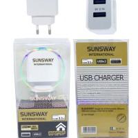 CHARGER CASAN DUAL USB SUNSWAY FOR SAMSUNG XIAOMI OPPO VIVO GRADE ORI