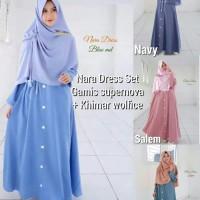 Setelan hijab murah Gamis busui kerudung Khimar Nara dress set 97