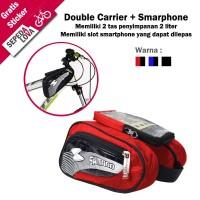 Tas Frame Depan Sepeda Double Carrier Slot Smartphone