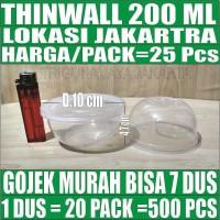 Mangkok Plastik 200ml Kotak Makanan Cup Puding Thinwall Tutup Murah