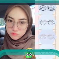 Kacamata Baca Bulat PAULINE   Bisa Pasang Lensa Minus Antiradiasi