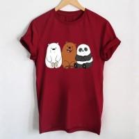 Tumblr Tee / T-Shirt / Kaos Wanita Lengan Pendek Bare Bears Maroon