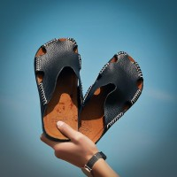 Harga 2018 baru fashion pria sandal kulit sepatu kasual kualitas | Hargalu.com
