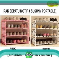 RAK SEPATU PORTABLE MOTIF 4 SUSUN [BESAR]
