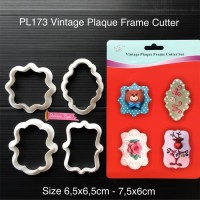 PL173 Vintage Plaque Frame Cutter cetakan fondant clay cookies kukis