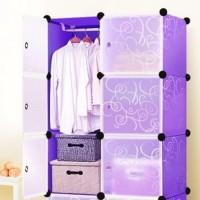 Terlaris Lemari Baju Plastik Diy 6 Pintu - Purple