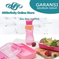 Paket Wadah Tempat Makan Minum Rantang Tupperware Duo Mini Set Pink