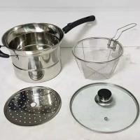Vavinci Multi Pot 22 cm / Steamer & Fryer 2 IN 1 / Panci Multi Fungsi