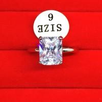 Cincin Silver Zircon Putih Lapis Emas Putih Batu Kotak - BR228
