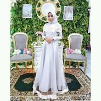 Dress maxi badriah,gamis pesta brokat kombi tile cantik,murah,putih