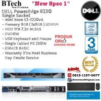 DELL Server R230 Rackmount 1U E3-1220v6/8GB/1TB NLSAS/3YR