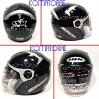 PROMO HELM INK ENZO SOLID BLACK SILVER DOUBLE VISOR HALF FACE !