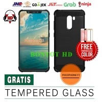 PAKET CASE CASING + TEMPERED GLASS FULL LAYAR HP XIAOMI POCOPHONE F1