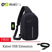 "Mairu Tas Selempang Pria USB Anti Maling Sling Bag 10"" with USB Port"
