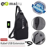 Mairu U-USB Tas Selempang Sling Bag Cross Body With USB Port Charger