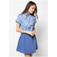 POINT ONE - POMELO Mini Dress with Denim Print