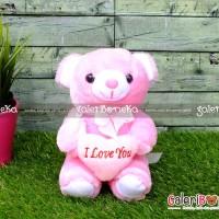 Boneka Teddy Bear Love Pink Kecil ( HK - 590115 )
